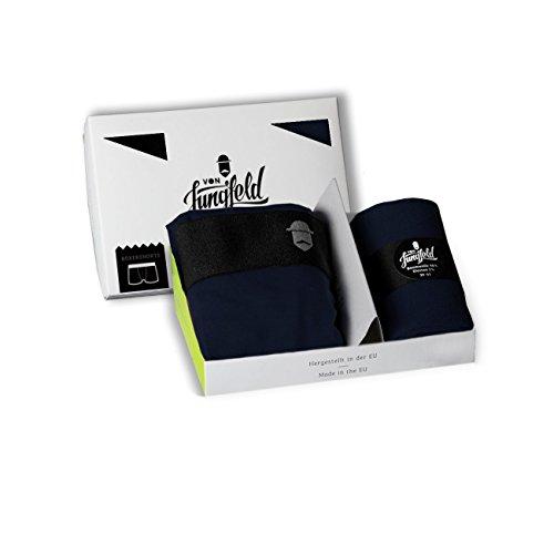 von Jungfeld – Boxershort Brief Unterhose mit Socken Kombi-Pack Marine Größe S/M // 39-41