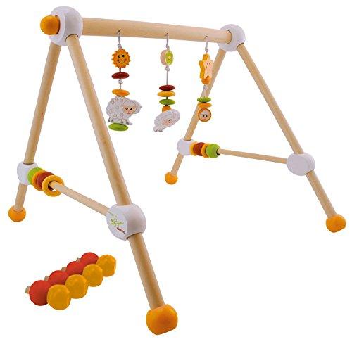 Bieco Spieltrapez Schaf / Spielbogen für Babys mit Figuren, Rasseln und Kugeln / Spielebogen Holz Baby / Spieltrapez Holz / Mobile Holz / Activity Center Baby / Baby Gym / Spielbogen für Babys Holz