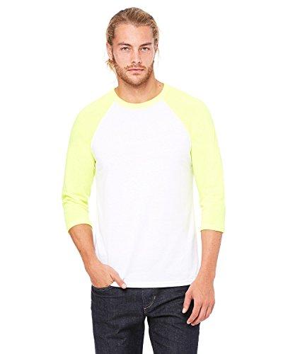 Bella Canvas Mens Triblend 3/4-Sleeve Baseball T-Shirt (3200) wht/neon Yellow s