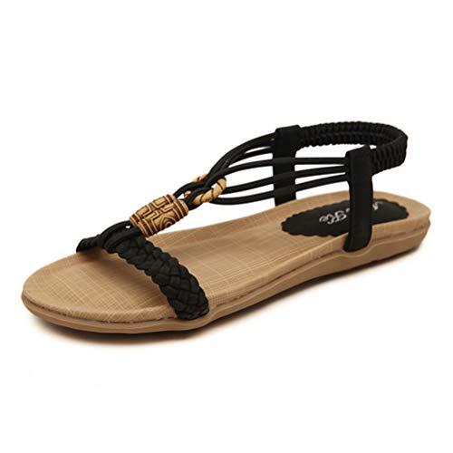 Tianmao Sandalen Damen Sommer Flip Flops Bohemian Flach Leder Flach Elastischen Zehentrenner Bohemian Sandalen (35 EU, Schwarz)
