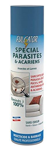 FULGATOR - Insecticide à large spectre SPÉCIAL PARASITES – 100% efficace contre sarcopte de la gale, acariens, punaises de lit, poux, puces, mites, anthrènes - Sans odeur - Fabriqué en France - 400 ml