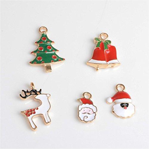 SDENSHI 30pcs Colgantes de Los Encantos de Santa de La Flor Animal de Navidad del Color Mezclado para El Pelo de La Pulsera