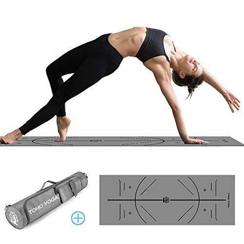 Yoga Mat, Non Slip Fitness Exercise Mat with Body Alignment System, Natural Rubber+PU Leather Workout Thick Mat with Carrying Bag for Yoga, Pilates, Gymnastics -183cmx68cmx0.5cm-Grey