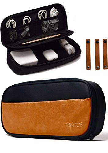 Pu Leather & Canvas Electronics Organizer Case Accessories Bag W/ 3 Leather Cable Straps | Tech,...