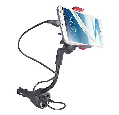 Jiale Car Charger Mount, Universal Car Cradle Dock Station, Mount, Adapter with 2 Rapid USB Car Chargers, Power Outlet and 360 Degree Rotating Gooseneck Holder with Micro USB Cable - (Black/Red)