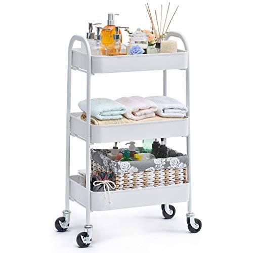 TOOLF No Screw Rolling Cart, 3-Tier Easy Assemble Utility Cart, Sturdy Storage Cart with Handles, Locking Wheels, for Kitchen Home Office Garage Bathroom Salon Organize, Grey, White