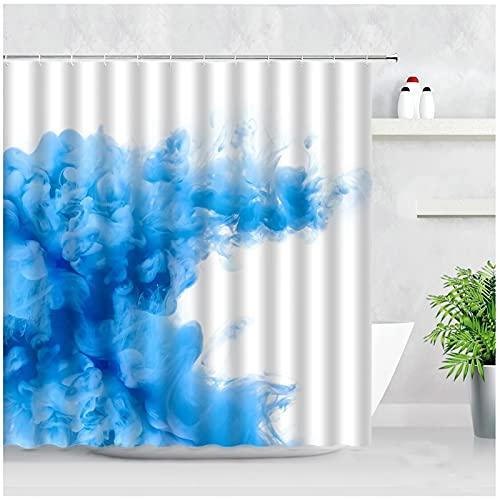 Blaue Tinte Rauch Duschvorhänge Farbe Aquarell Abstrakte Kunst Moderne Mode Home Badezimmer Dekor Haken -180x180cm