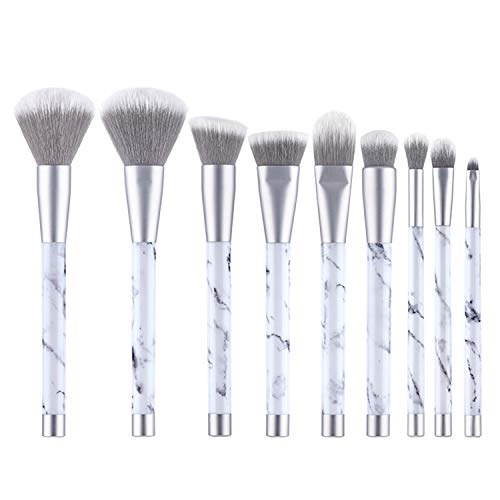 RL 9 StöCke Marmor Make-Up Pinsel, Stumme Silberne Marmor-Make-Up-BüRste, Beauty-Tools Lidschatten...