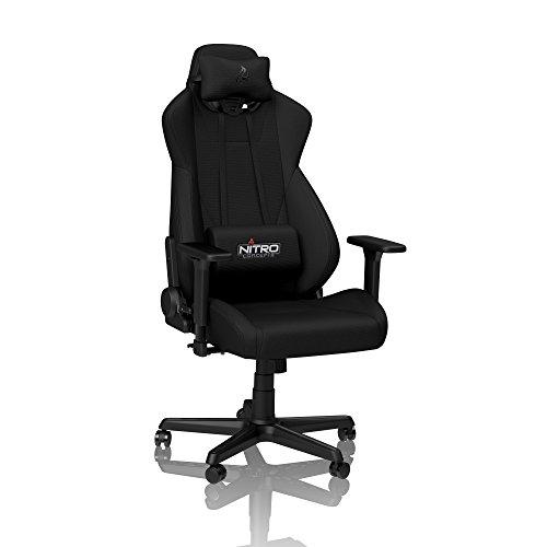 NITRO CONCEPTS S300 Gamingstuhl - Bürostuhl - Schreibtischstuhl - Stoffbezug - Stealth Black (Schwarz)