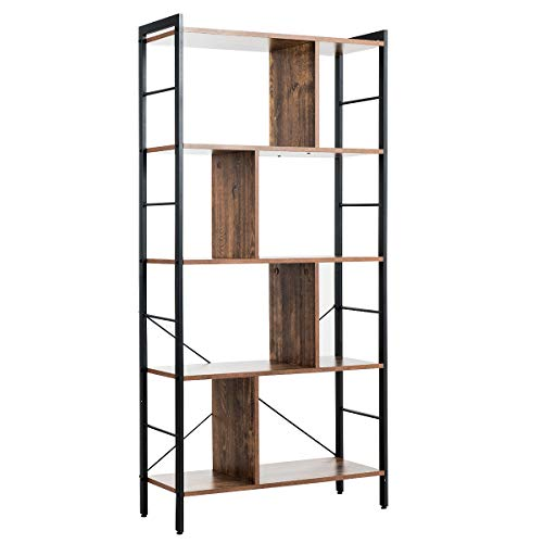 BON AUGURE Industrial Bookshelf, Etagere Bookcases and Book Shelves 5 Tier, Rustic Wood and Metal Shelving Unit (Dark Gray Oak)
