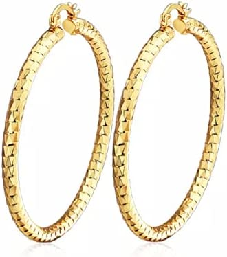 Women's Girls Layered Real Gold Plated Click top Hoop Earrings set