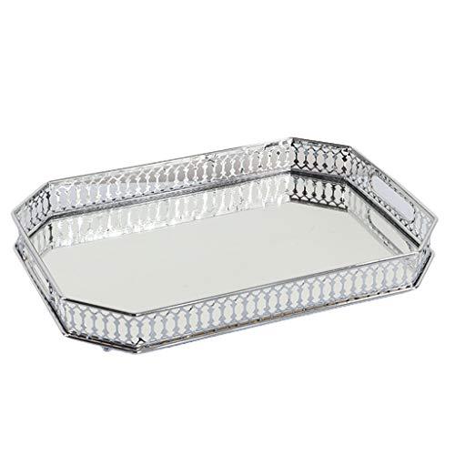 Gazechimp Bandeja de Espejo de Plata Anidada, Bandejas de Perfume de Joyería Decorativa para Tocador,