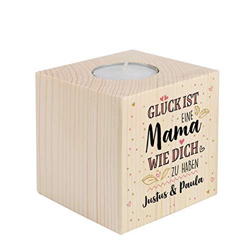 Herz & Heim® schöner Kerzenhalter mit Kompliment für die Mama - tolles Geschenk zum Muttertag