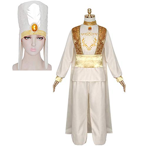Cosplay Kleidung Tales from The Thousand and One Nights Aladdin Prinz Anzug Männer Halloween Full Set White Feather hat Suit-XL