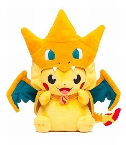 Peluche de Pokemon Pikachu Sonriendo con Traje de Charizard Pokemon - Peluche Pikachu Mega Charizard 23cm Pikazard Plush Toy (Yellow)