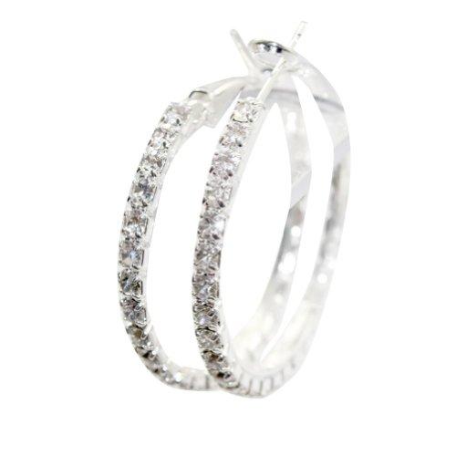 Zehui - Orecchino in argento circolare, rotondo, cristallo di rocca, chiaro, Swarovski, a cerchio, diametro: 5 cm