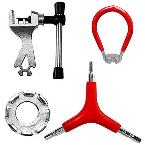 QAZRFVPXF Forged Steel Bicycle Spoke Tool Mountain Bike Spoke Wrench Kit Bicycle Wheel Wrench Bike Spoke Tool Bike Rim Correct Kit Repair Parts Four Piece Bicycle Repair Tool Set for Bicycle Repair