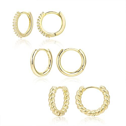 Vogem 3 pares de pendientes de aro para mujer, de oro con circonitas, para cartílago, tragus, hélix, para dormir, joyas hipoalergénicas