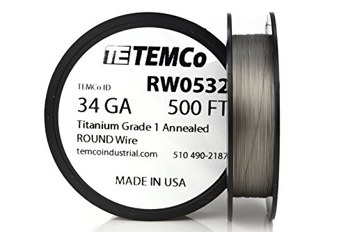 TEMCo Titanium Wire 34 Gauge 500 FT Surgical Grade 1 Resistance AWG ga