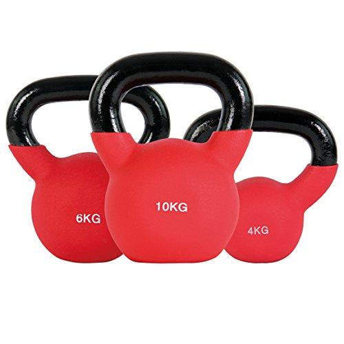 POWRX Kettlebell ghisa 20 kg Set (4 kg, 6 kg, 10 kg) - Rivestimento in Neoprene + PDF Workout