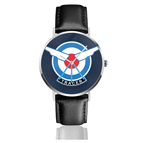 Unisex Business Casual Tracer Flying Squad Logo Ov-erwatch Quarz Leder Armbanduhr mit schwarzem Lederband für Männer und Frauen Young Collection Geschenk