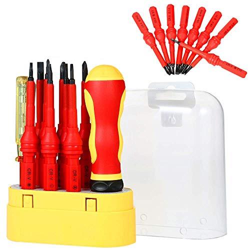 LONGWDS Destornillador 10 en 1 Conjunto de Destornillador Aislado, Destornilladores eléctricos magnéticos de precisión Kit Intercambiables con Mango de protección eléctrico y lápiz de Prueba
