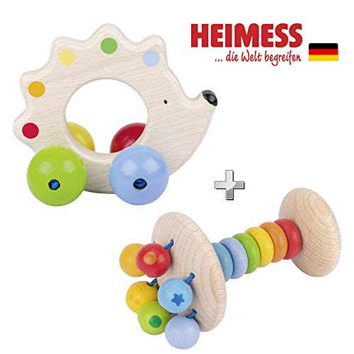 Heimess Soft Colours Holz Greifling Elastik Stielrassel Regenbogen & Holz Greifling Igel mit Perlen // Holz // 2-TLG.-Set