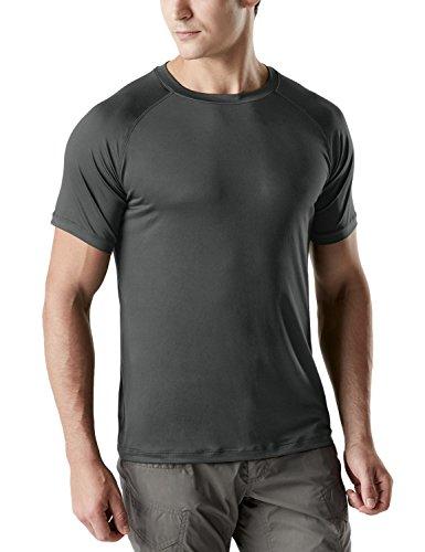 TSLA Men's Rashguard Swim Shirts, UPF 50+ Loose-Fit Short Sleeve Shirt, UV Cool Dry fit Athletic Water Shirts, Tacti Dri Short Sleeve(tos100) - Dark Grey, Medium