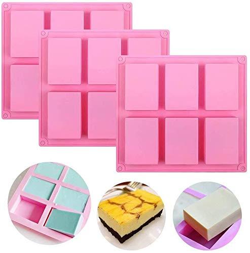 Molde de jabón de silicona, 6 moldes de cavidad para jabón, jabón de silicona premium y molde de resina para manualidades caseras