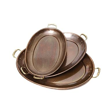 Old Dutch Decor Antique Copper Oval Tray, 17-Inch by 13-Inch, 15-Inch by 11-Inch and 13-1/4-Inch by 8-3/4-Inch, Set of 3