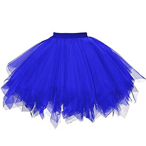 Tüllrock Ballettrock Tutu Petticoat Vintage Partykleid Unterkleid Hirolan Damen Falten Gaze Kurzer Rock Erwachsene Tutu Tanzender Rock Ballklei Abendkleid Zubehör (M, Blau)