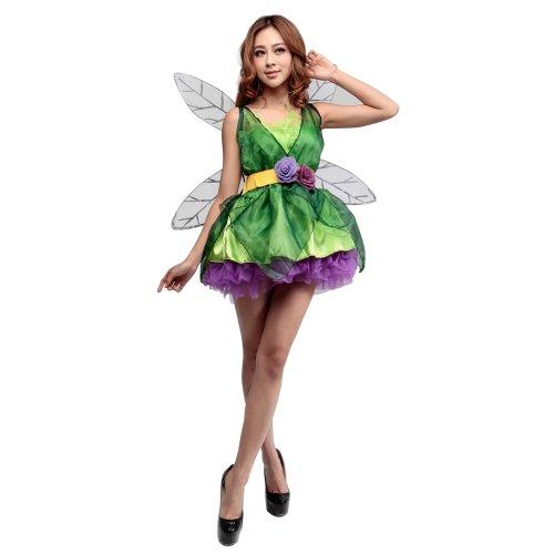 LSERVER Adulte Costume d'halloween Cosplay Robe de Princesse pour Femmes Toussaint Déguisement Carnaval Elfe Forêt