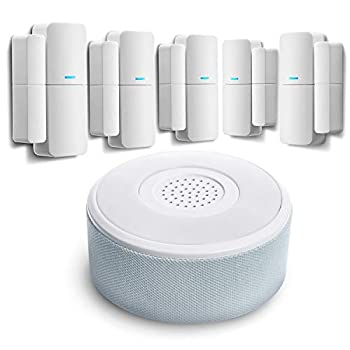 Home Zone Security Smart Wireless Door Window Sensor and Security Siren Alarm Kit - DIY APP Controlled Security Kit with No Subscription Needed Batteries Included  5-Pack