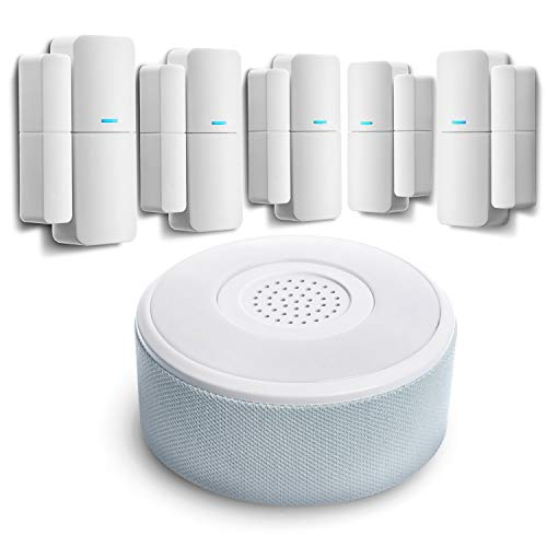 Home Zone Security Smart Wireless Door, Window Sensor and Security Siren Alarm Kit - DIY APP Controlled Security Kit with No Subscription Needed, Batteries Included (5-Pack)
