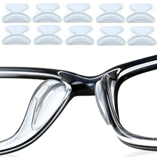 5 Pairs Silicone Nose Pads for Eyeglasses, 2.5mm Anti-Slip Soft Glasses Cushions Sticker for Sunglass Spectacles (Transparent)