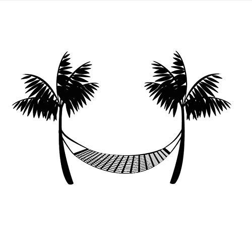 zwyluck muurstickers, creatieve muurtattoo, vinyl, bedrukt, strand, hangmat, muurstickers, palmen, thuisdecoratie, 44 x 68 cm