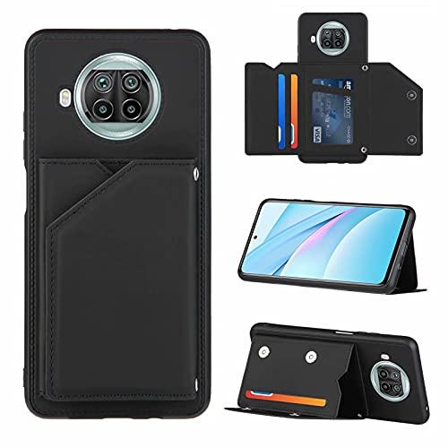 TTNAO Funda para Xiaomi Redmi Note 9 Pro 5G Cartera Tapa Ranura Cuero PU Magnético Carcasa Función Soporte,Correa para La muñeca Case+1*Protector de Pantalla(Negro)