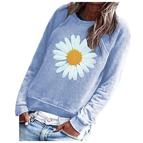 Letdown(TM) Women Sweatshirt Graphic Sunflower Print Long Sleeve Crewneck Comfy Casual Loose Autumn Fashion Pullover Tops