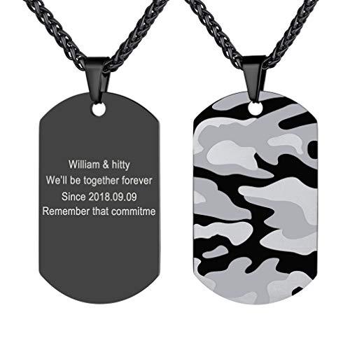 Custom4U Camouflage Camuflaje Collar Tabla Militar Placa Rectangular Personalizado Cadena de Cable Trigo Espiga Joyería Dudadero Hombre Jovenes