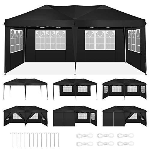 HOTEEL Pavillons 3x6m Faltpavillon Wasserdicht Gartenzelt Partyzelt Faltbar Zelt mit 6 Seitenwände für Garten Markt Camping Hochzeiten Festival, Schwarz