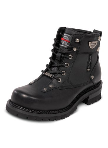 Milwaukee Motorcycle Clothing Company Afterburner Leather Womens Motorcycle Boots Black, Size 6.5C