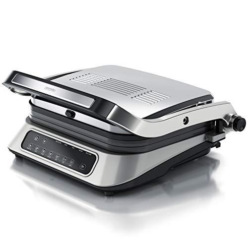 arendo - Parrilla eléctrica de contacto – Grill 1900W – 7 programas – Control de temperatura - Acero inoxidable antiadherente – Placas extraíbles – Para barbacoa, todos alimentos, carne, pescado