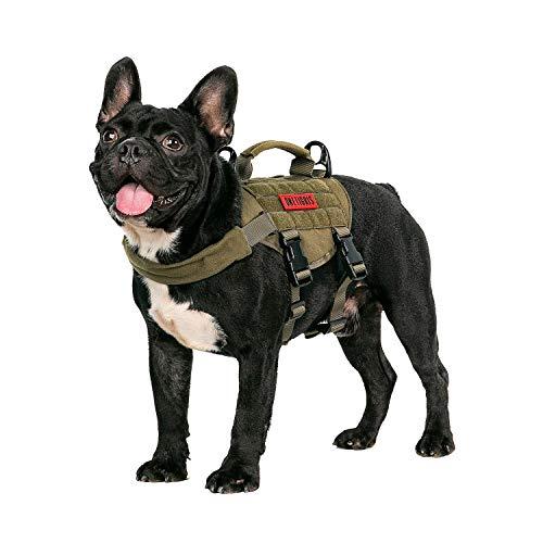 OneTigris MOLLE Taktisches Welpengeschirr Einstellbar Weich Geschirr für Kleine Hunde Welpen Wandern/Walking Outdoor-Aktivitäten (Coyote Braun) |MEHRWEG Verpackung (XS, Ranger Grün)