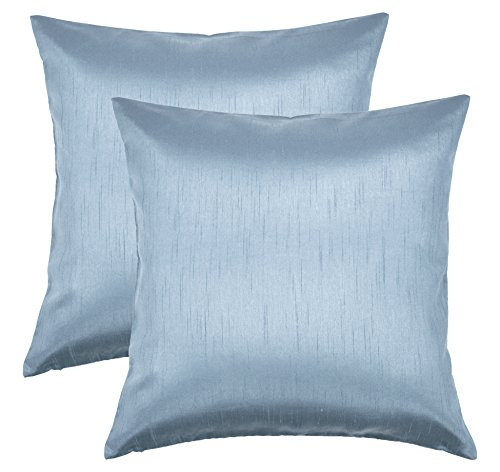 Aiking Home 18x18 Inches Faux Silk Square Throw Pillow Cover, Zipper Closure, Slate (Set of 2)