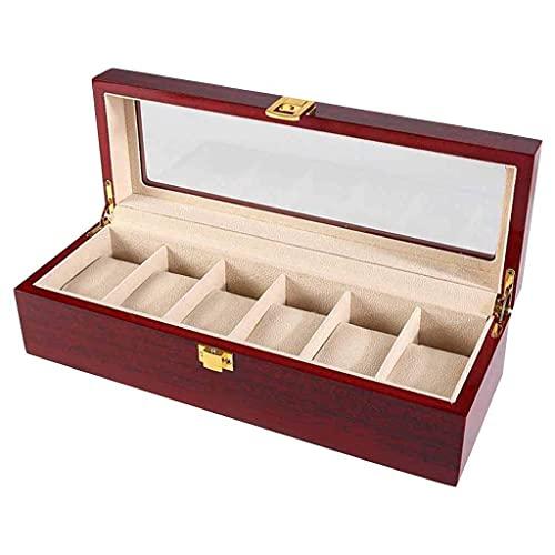 Uhr Box Holz Organizer Kissenbezug Uhr Schmuckschatullen Luxus Premium 6 Slots Display für Männer und Frauen Uhr & Schmuck Großhalter Boxen Geschenk Roscloud @ Good Life