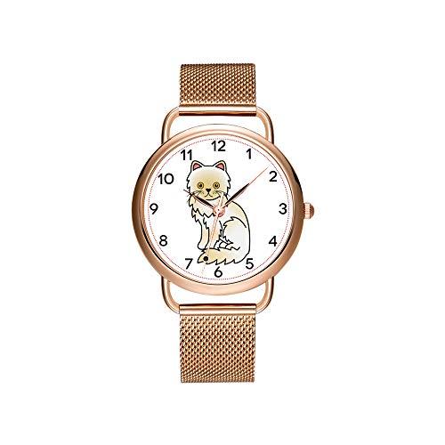 Vrouwen horloges merk dames mesh riem ultradun horloge waterdicht horloge kwartshorloge kerstcrème met gele ogen persoons kat klok