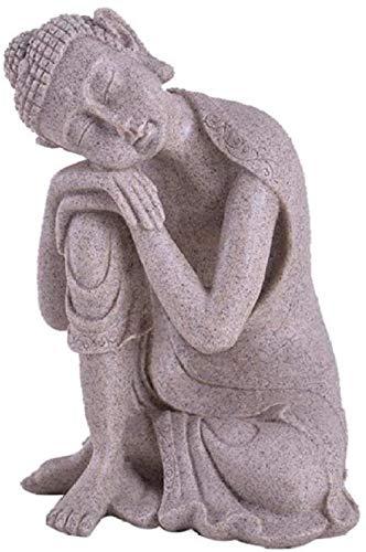 Escultura,Adornos Estatuilla Figuras Coleccionables Piedra Arenisca Blanca Estatua De Buda Escultura De Buda Escultura Accesorios De Decoración del Hogar Decoración De Muñecas Artesanía