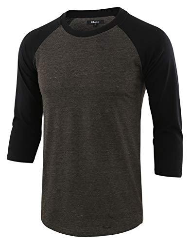 Estepoba Men's Casual Basic Vintage 3/4 Raglan Sleeve Jersey Baseball Tee Shirt H.Charcoal/Black M