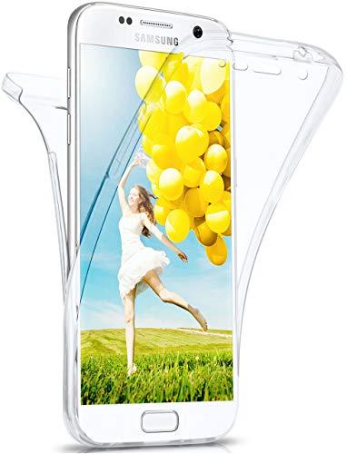 moex Double Case für Samsung Galaxy S7 - Hülle mit 360 Grad Schutz, Silikon Schutzhülle, vorne und hinten transparent, Clear Cover - Klar