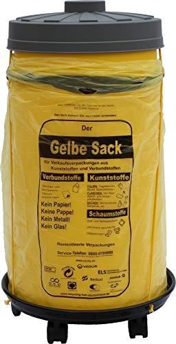 Sacktonne gelb mit Rollwagen und Deckel, Müllsackständer, Gelber Sack, Mülltonne, Wertstoffbehälter